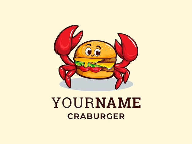 Modelo de logotipo criativo de hambúrguer de caranguejo