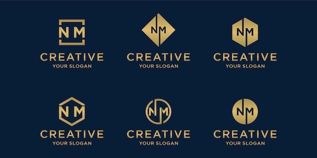 Modelo de logotipo criativo dourado. conjunto de logotipo da letra n e m
