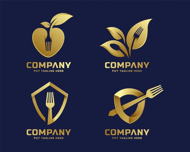 Modelo de logotipo criativo garfo com cor de ouro