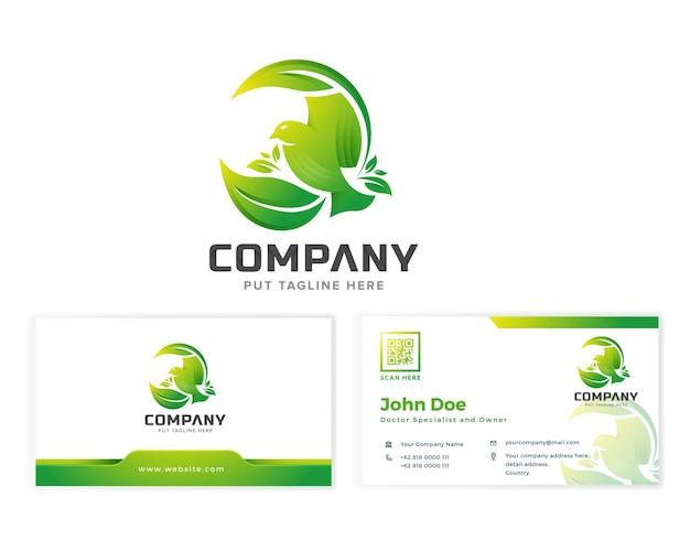 Modelo de logotipo criativo pássaro colorido verde voando