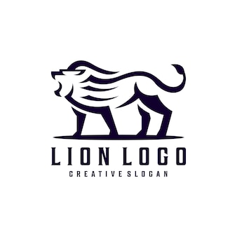 Modelo de logotipo criativo simples hipster lion