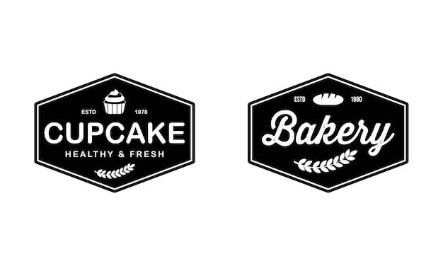 Modelo de logotipo cupcake bakery. emblema da padaria, estilo retro vintage