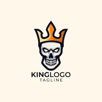 Modelo de logotipo da cabeça do rei do crânio