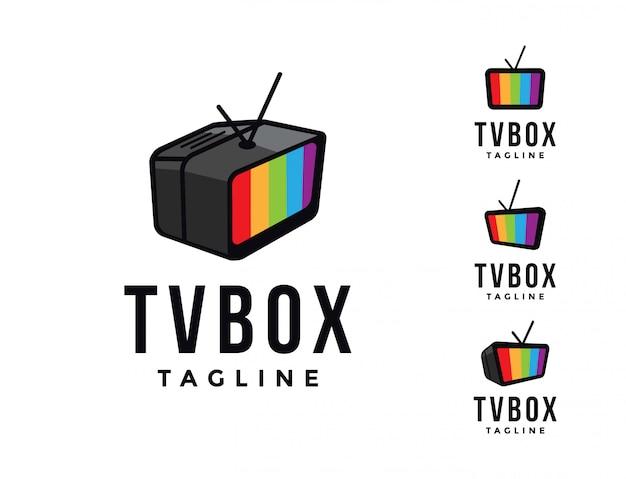 Modelo de logotipo da caixa de tv do monitor de tv, gráfico de entretenimento de transmissão