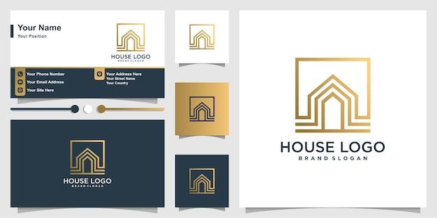Modelo de logotipo da casa e cartão de visita
