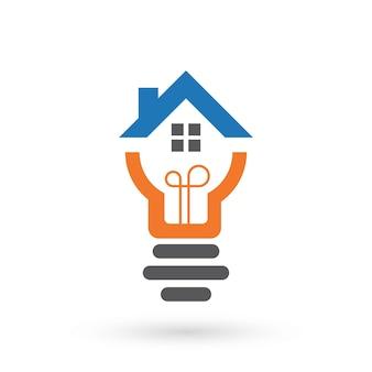 Modelo de logotipo da casa inteligente com ícone da lâmpada