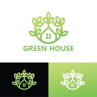 Modelo de logotipo da casa verde