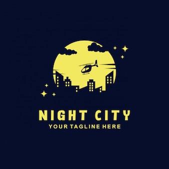 Modelo de logotipo da cidade à noite