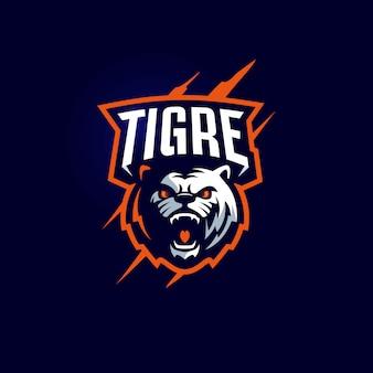 Modelo de logotipo da equipe de esporte de mascote de tigre