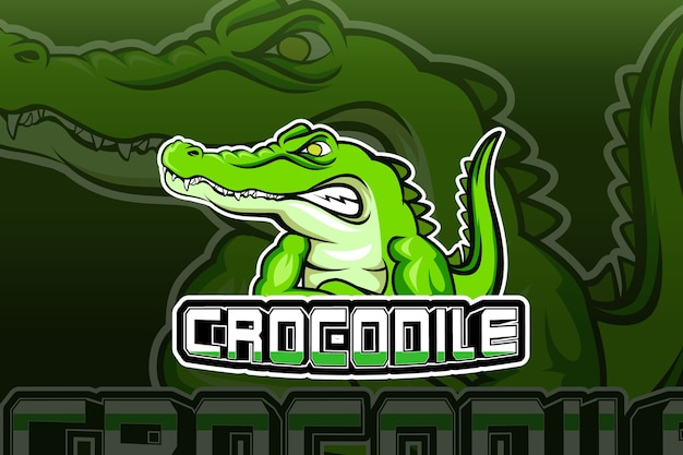 Modelo de logotipo da equipe de esportes eletrônicos crocodile