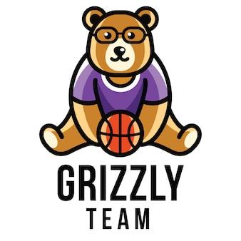 Modelo de logotipo da equipe grizzly