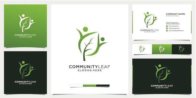 Modelo de logotipo da folha da comunidade com cartão de visita