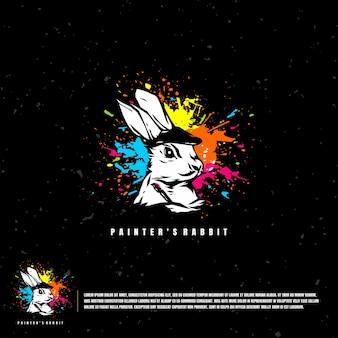 Modelo de logotipo da ilustração do coelho do pintor
