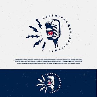 Modelo de logotipo da ilustração do microfone scream