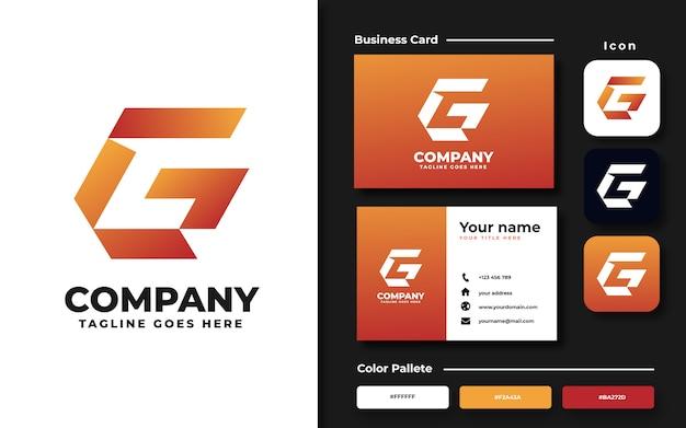 Modelo de logotipo da letra g e cartão de visita