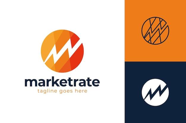 Modelo de logotipo da letra m ou w do banco ou organização financeira