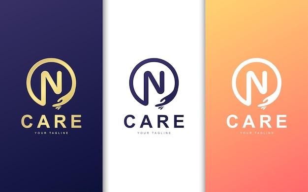 Modelo de logotipo da letra n. conceito de logotipo moderno de cuidados