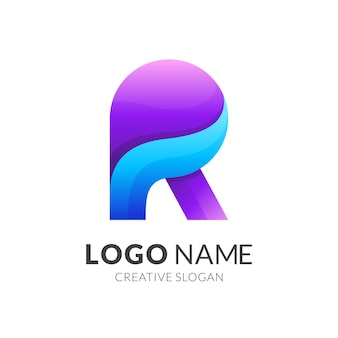 Modelo de logotipo da letra r com ícone de onda