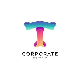 Modelo de logotipo da letra t gradiente com conceito de formato de fita