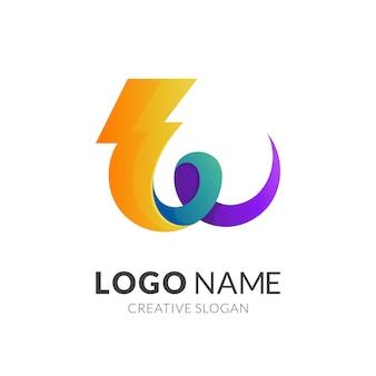 Modelo de logotipo da letra w e thunder, logotipo 3d moderno