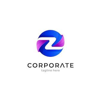 Modelo de logotipo da letra z em forma de círculo com gradiente de cor azul e roxo