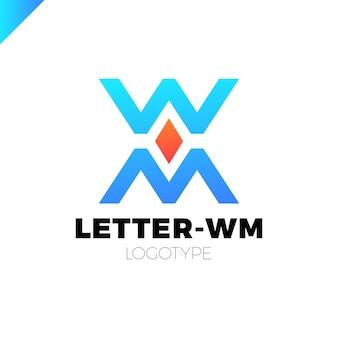 Modelo de logotipo da m / w ou da organização de banco ou finanças