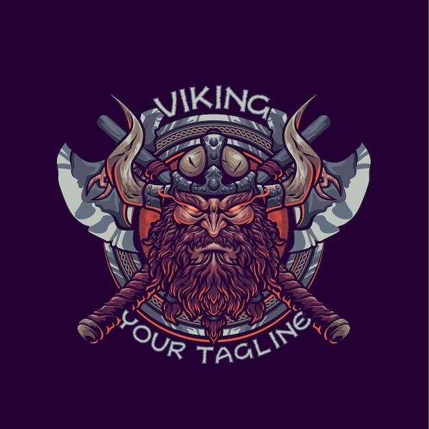 Modelo de logotipo da mascote viking