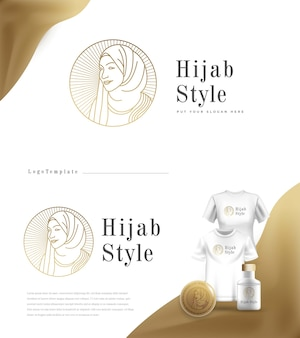 Modelo de logotipo da moda em estilo hijab de luxo