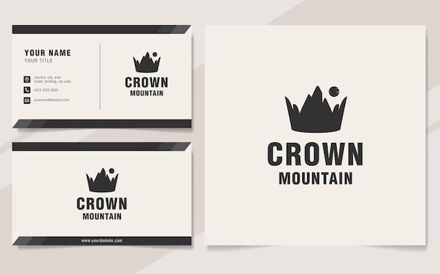 Modelo de logotipo da montanha crown em estilo monograma
