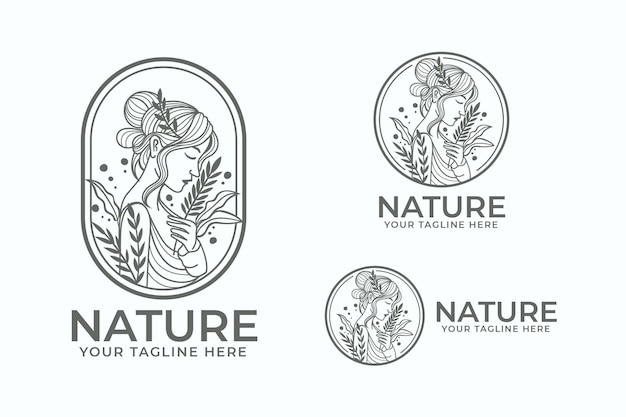 Modelo de logotipo da natureza feminina