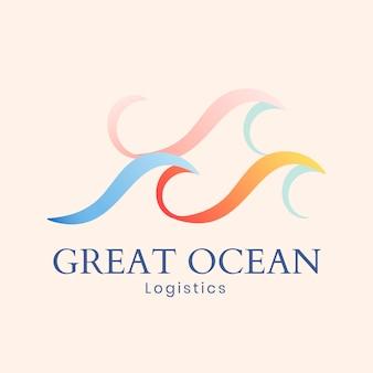 Modelo de logotipo da onda do oceano, negócio de água, vetor gráfico animado