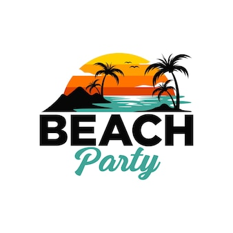 Modelo de logotipo da praia de verão