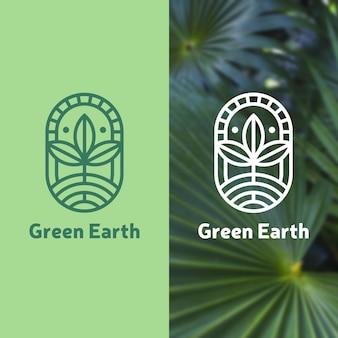 Modelo de logotipo da terra verde
