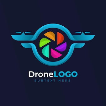 Modelo de logotipo da web com design de drone colorido