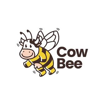 Modelo de logotipo de abelha vaca