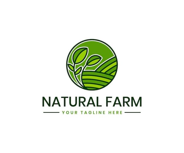 Modelo de logotipo de agricultura orgânica com marca de produto orgânico verde agricultura campo paisagem planta