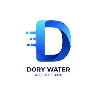 Modelo de logotipo de água doce azul letra d