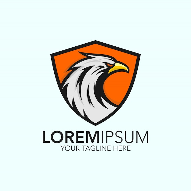 Modelo de logotipo de águia em fundo de escudo