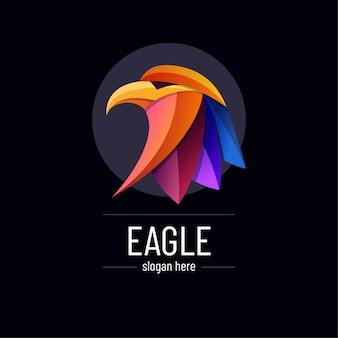 Modelo de logotipo de águia gradiente colorido abstrato