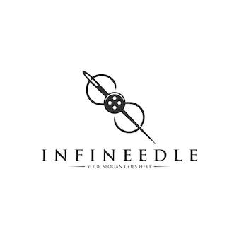 Modelo de logotipo de agulha infinita