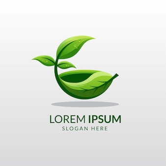 Modelo de logotipo de alimentos orgânicos à base de ervas