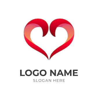 Modelo de logotipo de amor com estilo 3d de cor azul e rosa