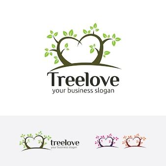 Modelo de logotipo de amor de árvore