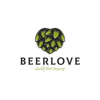 Modelo de logotipo de amor de lúpulo de cerveja
