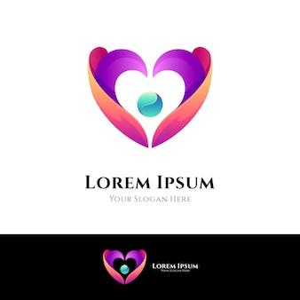 Modelo de logotipo de amor e carinho