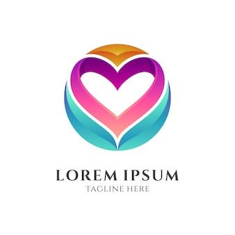 Modelo de logotipo de amor saudável