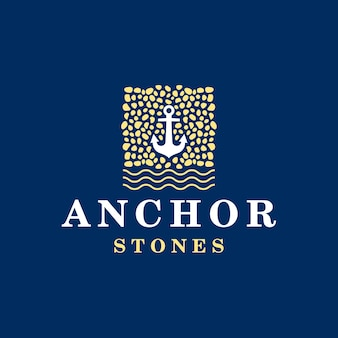 Modelo de logotipo de âncora e pedras