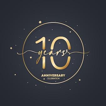 Modelo de logotipo de aniversário de 10 anos. 10º aniversário, ícone de aniversário de casamento. imagem de símbolo da moda. vetor eps 10. isolado no fundo.