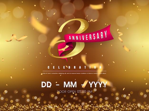 Modelo de logotipo de aniversário de 3 anos em ouro