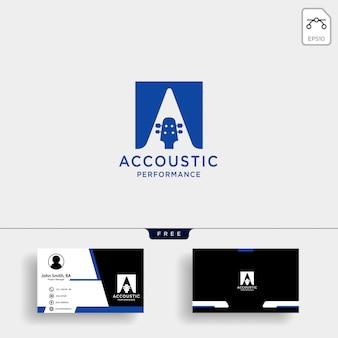 Modelo de logotipo de aprendizagem em casa acústico de guitarra